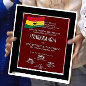 "Certificate of Recognition as ""ANYUINSEM AGYA"" of Doc Penpen Bugtong Takipsilim given by the Republic of Ghana."